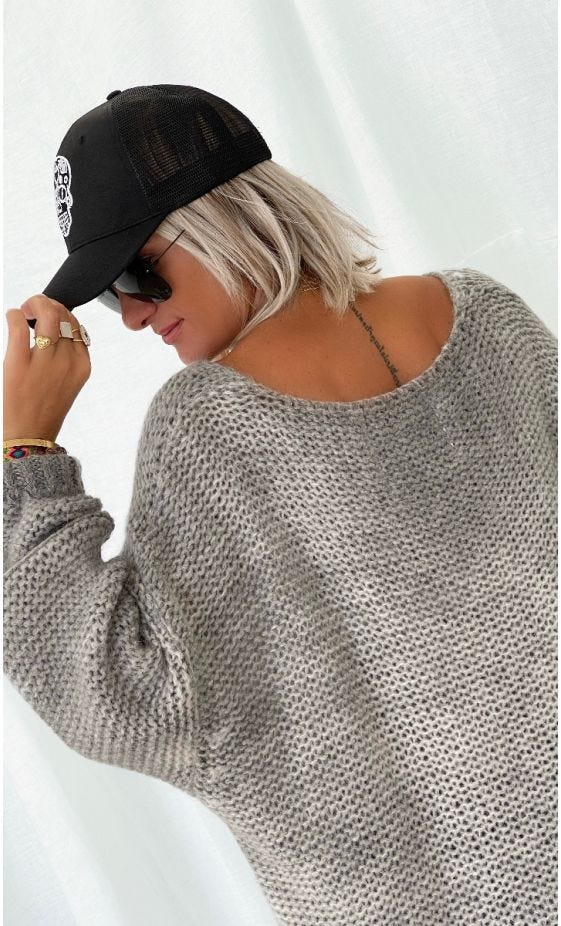 Pull Adrian Oversize Gris Clair
