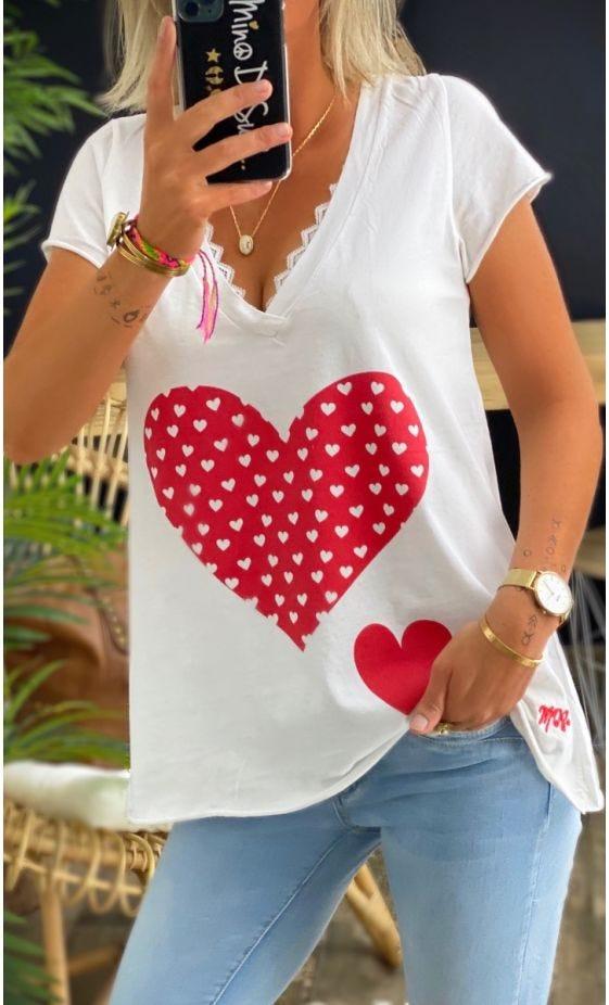 T-Shirt Elio MC Blanc Lovely Heart Rouge