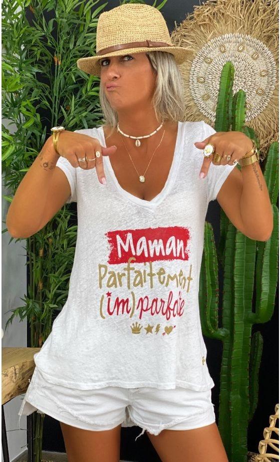 T-Shirt Elio MC Lin Blanc Maman Parfaitement Imparfaite