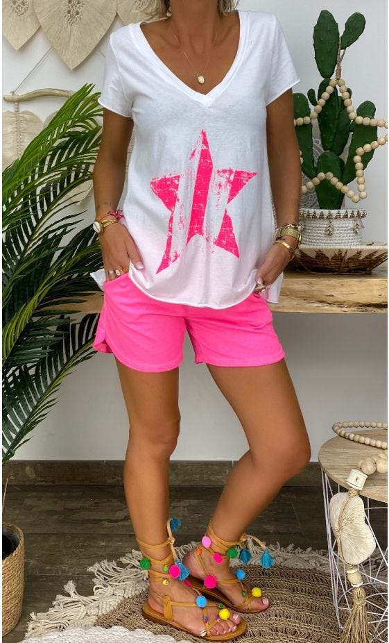 Short Ely Sweat Fin Rose Fluo