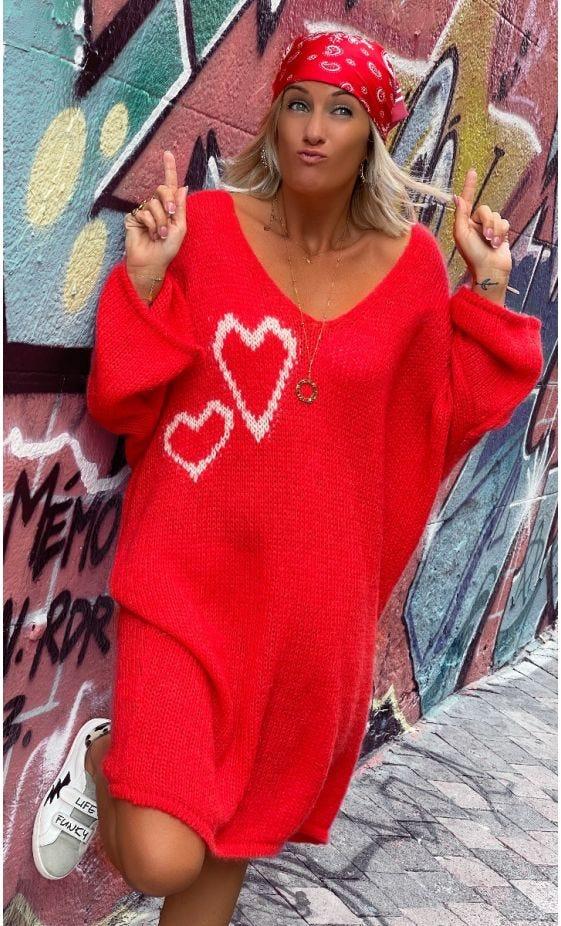 Petite Robe Pull Mady Oversize Rouge Hearts Ecru
