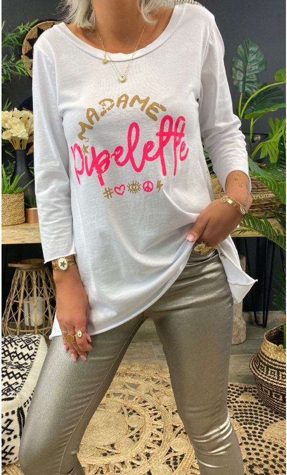 T-Shirt Quentin ML Blanc Madame Pipelette Rose Fluo
