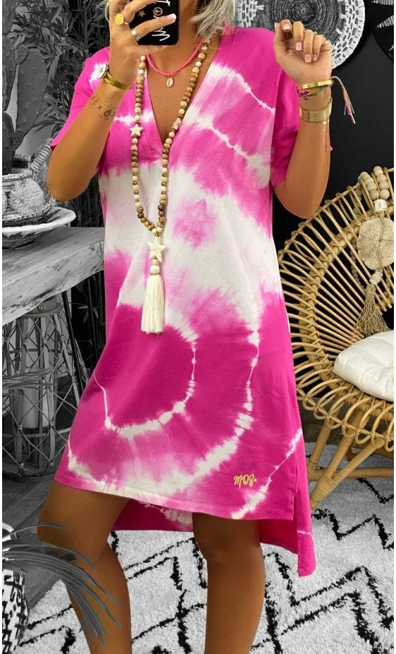 Petite Robe Perla MC Ultra-Light Tie And Dye Rose Fuchsia