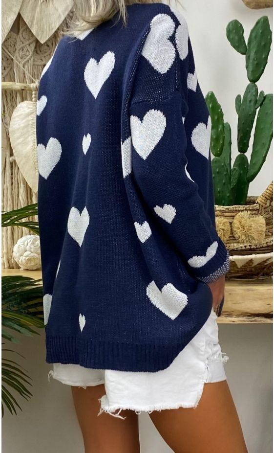 Pull Seb Bleu Marine Heart Blanc
