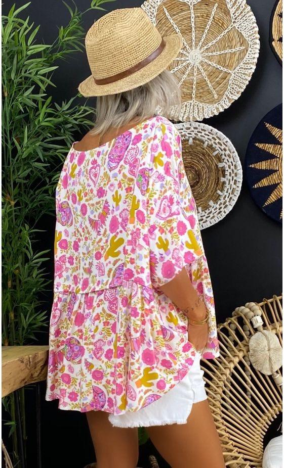 Tunique Louane ML Blanc Mexico Rose