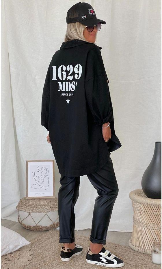 Surchemise Elvie Oversize Noir 1629 MDS Blanc