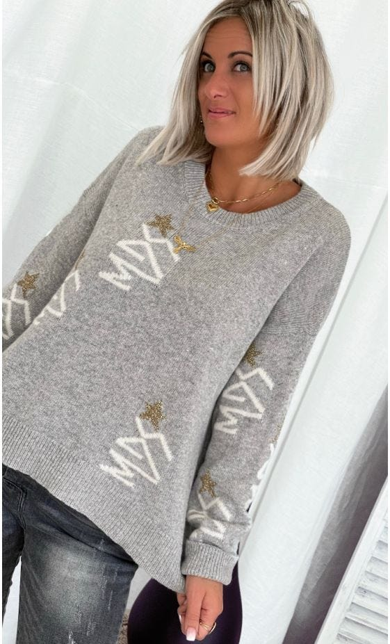 Pull Kenny Gris MDS Star Blanc & Or