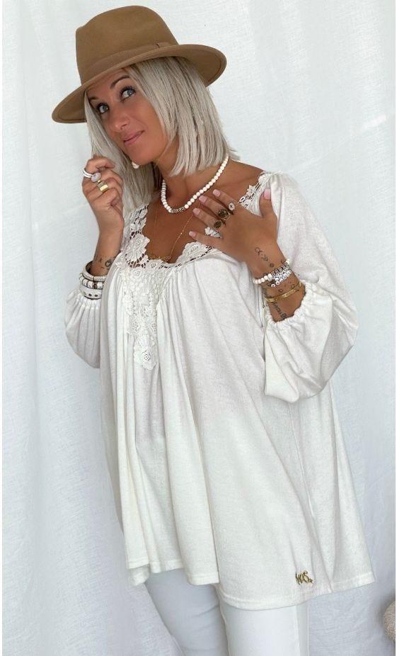 Tunique Paloma ML Maille Doudou Blanc Cassé