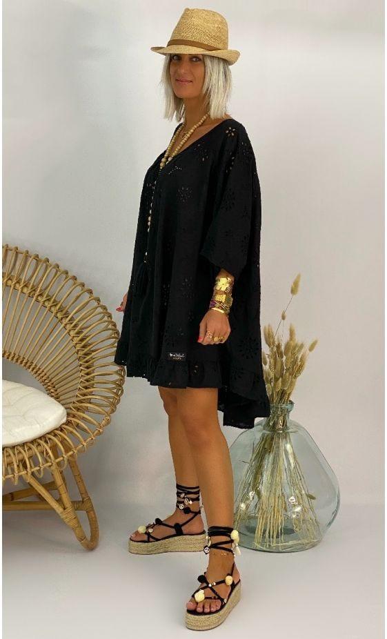 Petite Robe Joana Oversize Broderie Noir