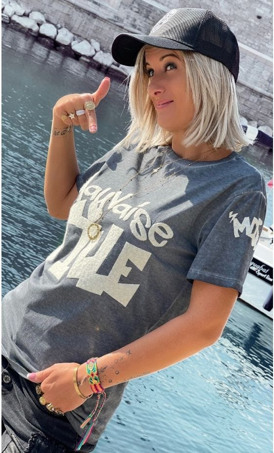 T-Shirt Mayron Gris Anthracite Mauvaise Fille Blanc