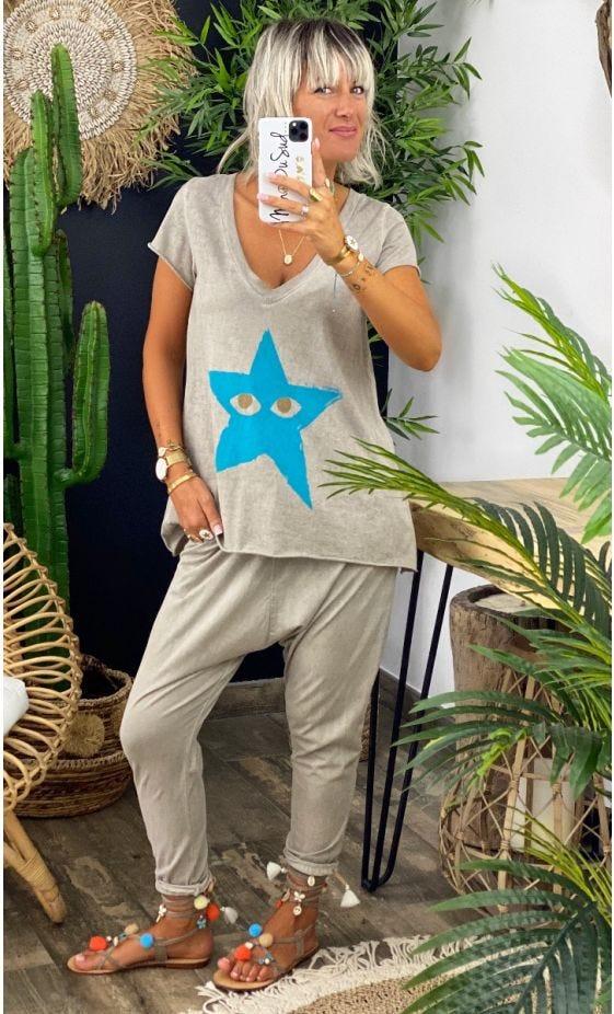 T-Shirt Elio MC Taupe Star Peekaboo Bleu Turquoise