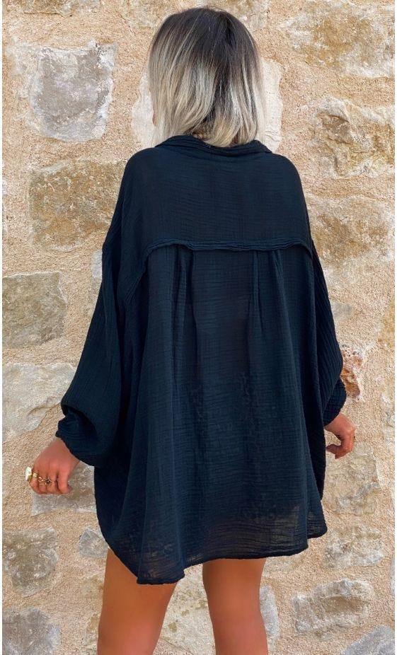 Chemise Yahel Voile De Coton Noir