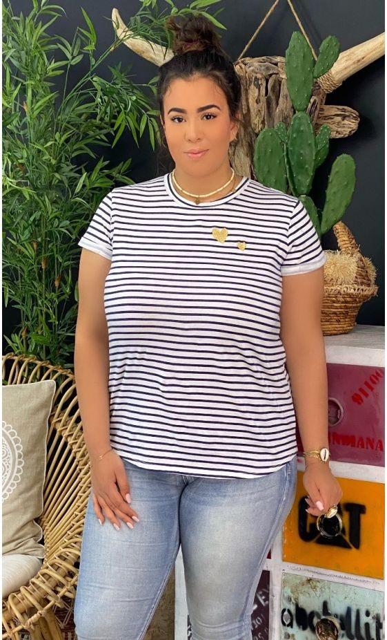 T-Shirt Naïm Blanc Marinière Bleu Little Heart Or