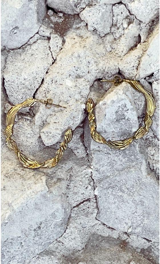 Boucles D'Oreilles Créole Saori Doré