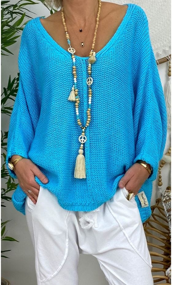 Pull Giani Petite Maille Bleu Turquoise