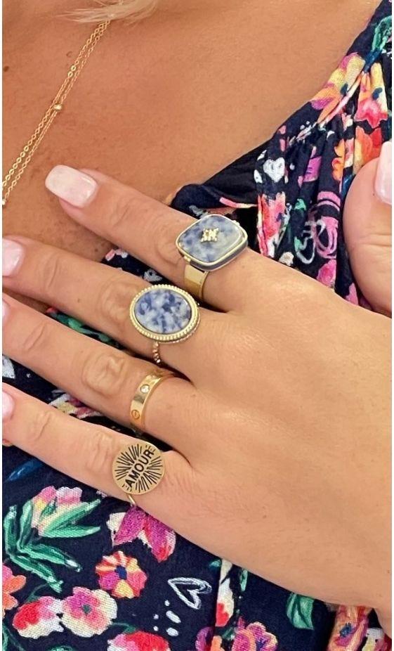 Bague Madison Doré Lapis Lazuli