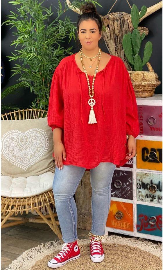 Tunique Malou Voile De Coton Rouge