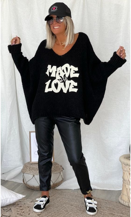 Pull Zack Oversize Noir Made With Love
