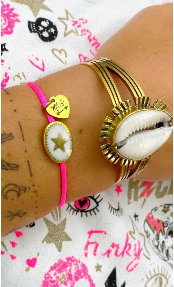 Bracelet Kassem Rose Fluo Charm Blanc