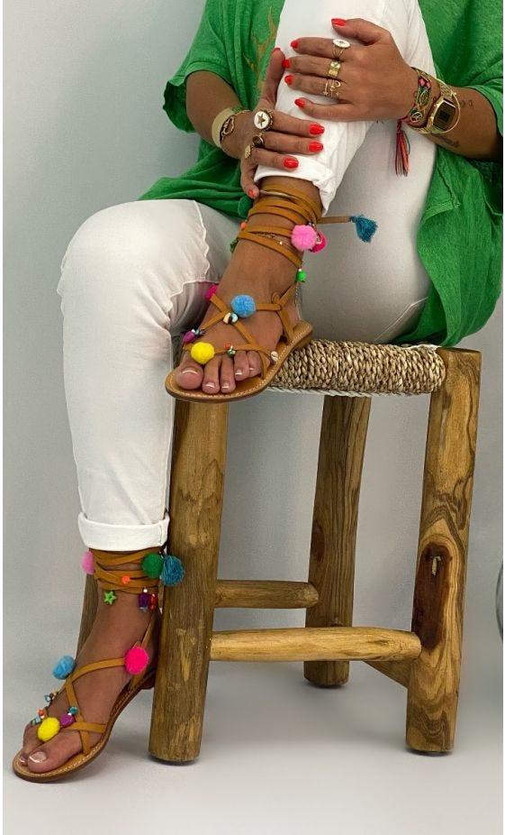 Sandales Nessa Camel Love Pompons Multicolor