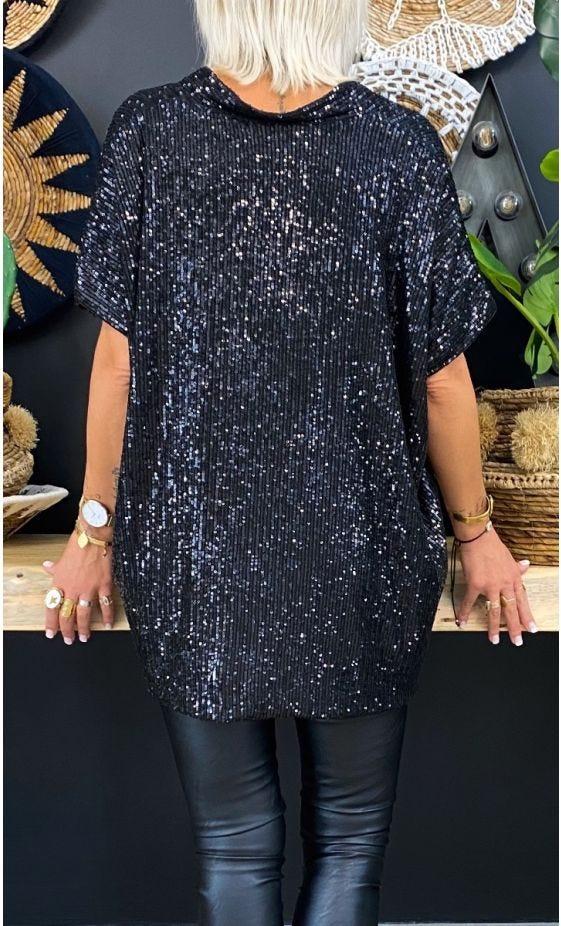 Tunique Paolo Oversize Sequins Noir