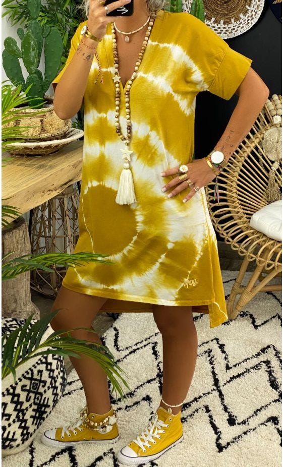 Petite Robe Perla MC Ultra-Light Tie And Dye Jaune Moutarde