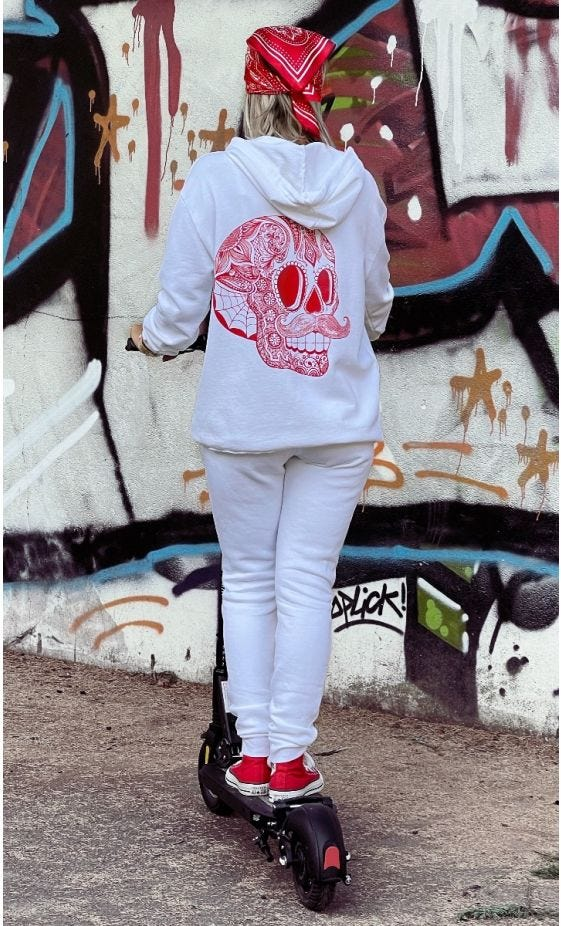 Sweat Lenny Blanc Hipster Skull Rouge