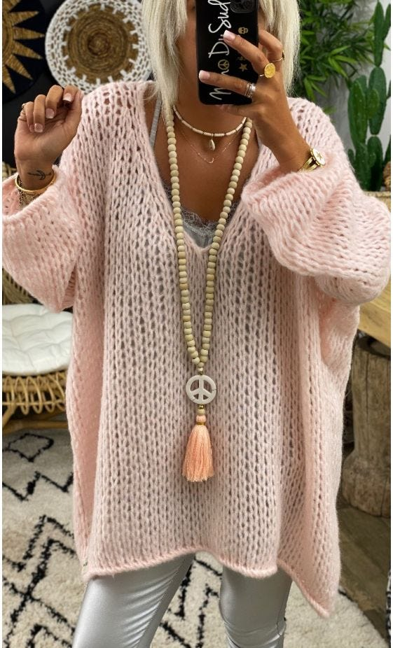 Pull Mady Oversize Rose Nude