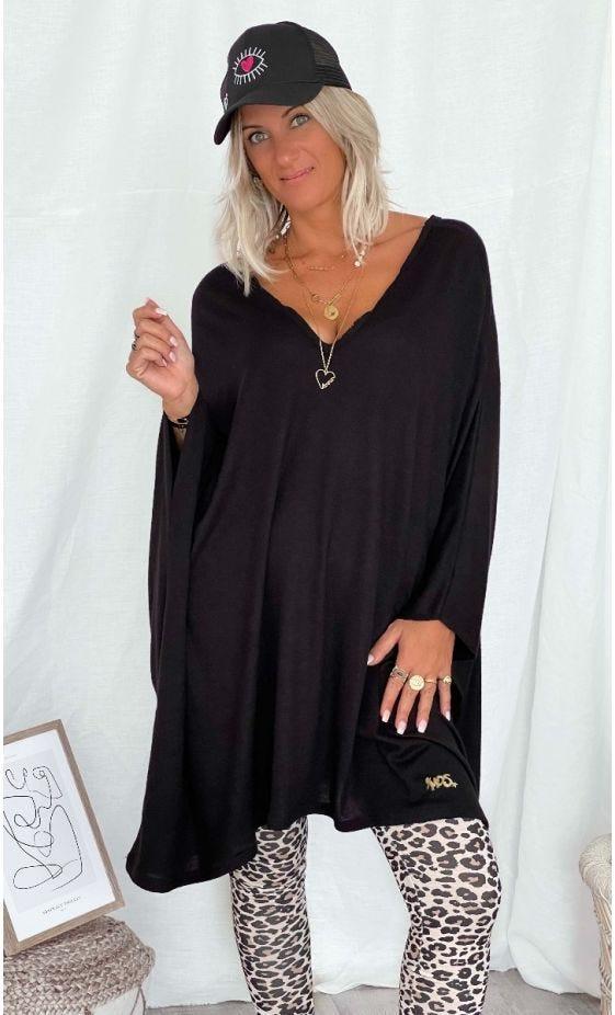 Petite Robe Sasha Oversize Maille Doudou Noir