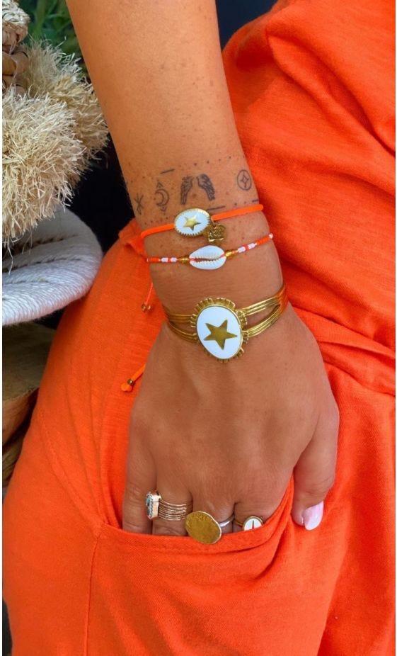 Bracelet Kassem Orange Fluo Charm Blanc
