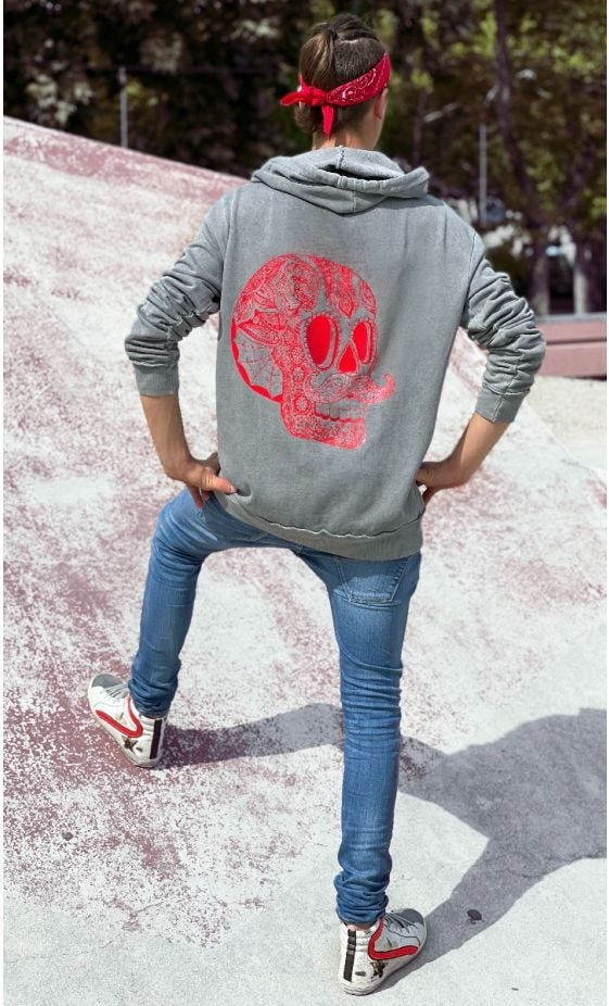 Sweat Lenny Gris Hipster Skull Rouge