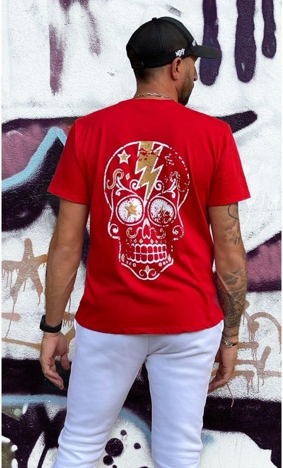 T-Shirt Mayron Rouge  Flash Skull Or