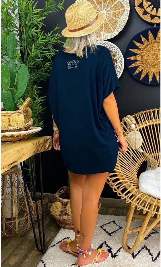 T-Shirt Paolo MC Oversize Maille Doudou Bleu Marine