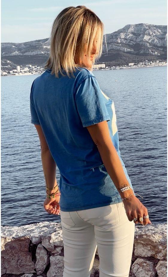 T-Shirt Mayron Bleu Electrique Mauvaise Fille Blanc