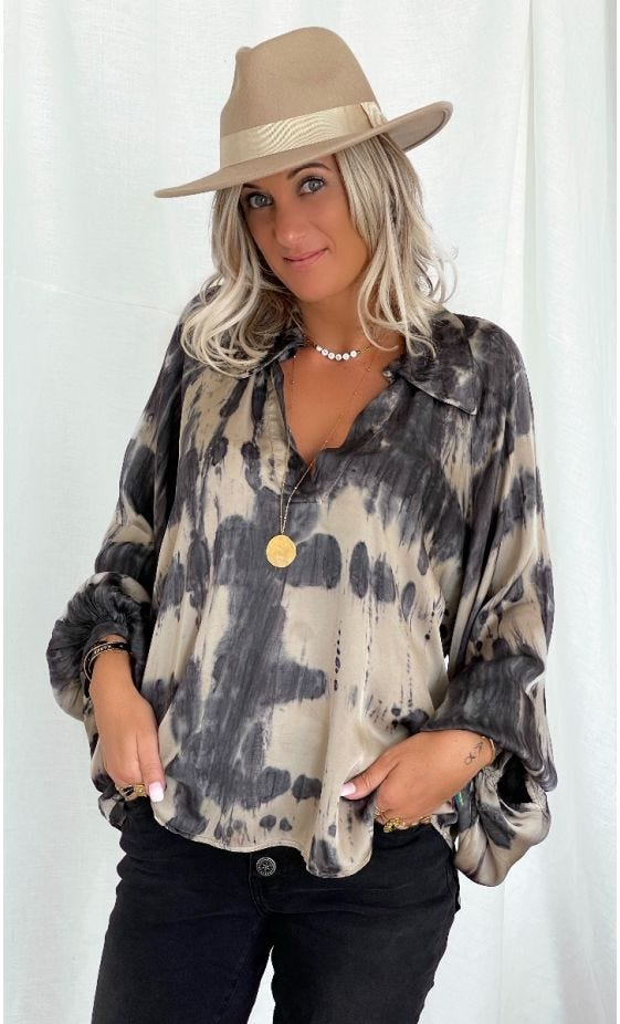 Tunique Kelly Satin Tie And Dye Beige