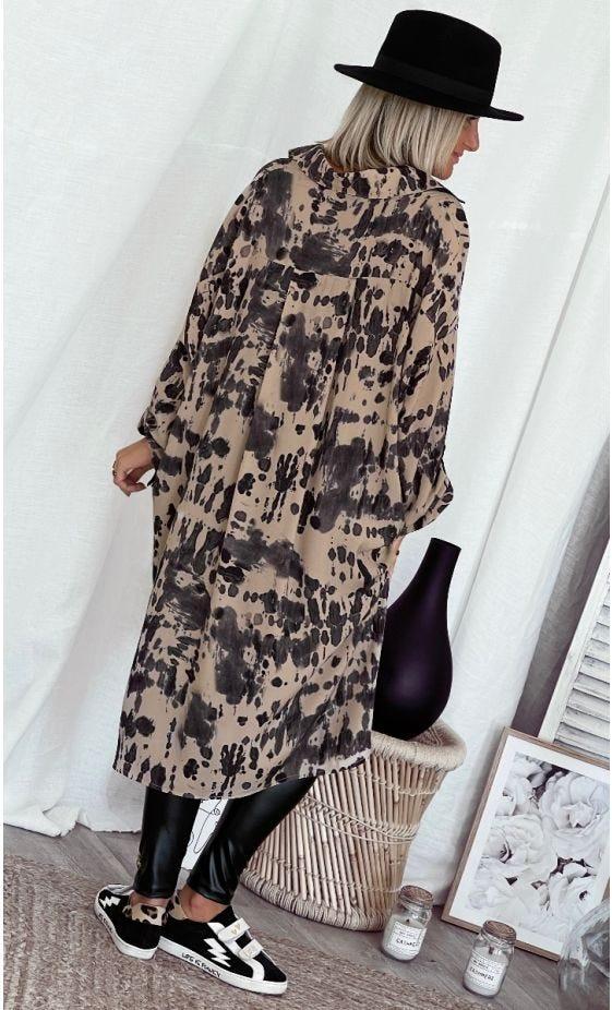 Petite Robe Chemise Mayssa Oversize Tie And Dye Beige