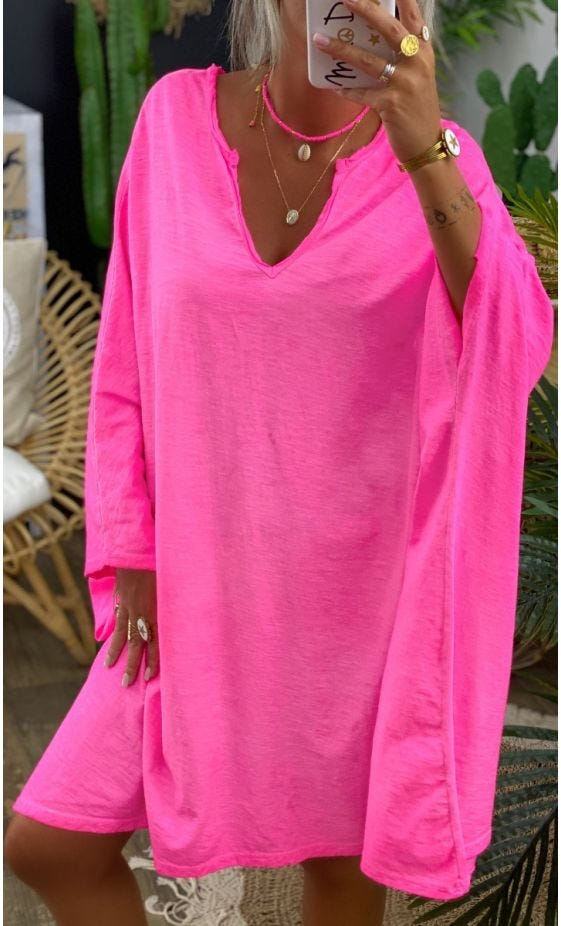 Petite Robe Sasha Oversize Rose Fluo
