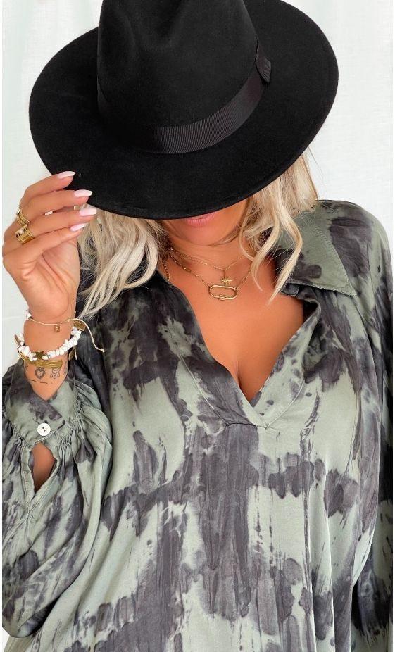 Tunique Kelly Satin Tie And Dye Kaki