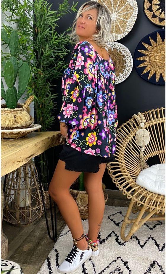 Tunique Nina Noir Peace Flowers