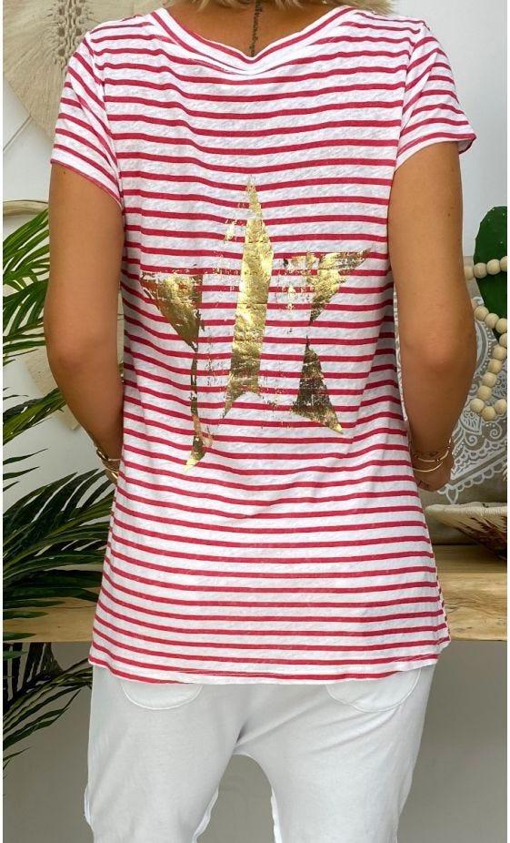 T-Shirt Elio MC Lin Blanc Marinière Rouge Star Or