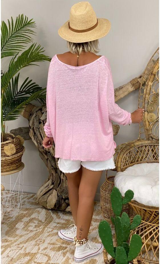 T-Shirt Gabin ML Loose Lin Rose Clair