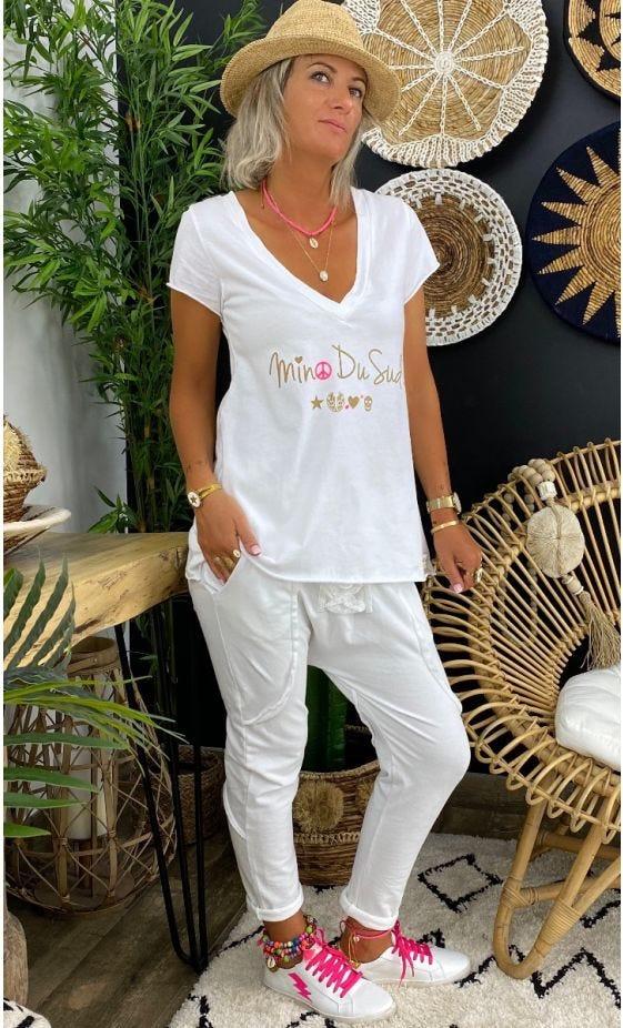 T-Shirt Elio MC Blanc MDS Or Rose Fluo