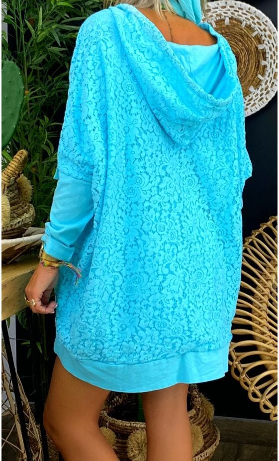 Sweat Fin Camille Oversize Dentelle Vert Turquoise