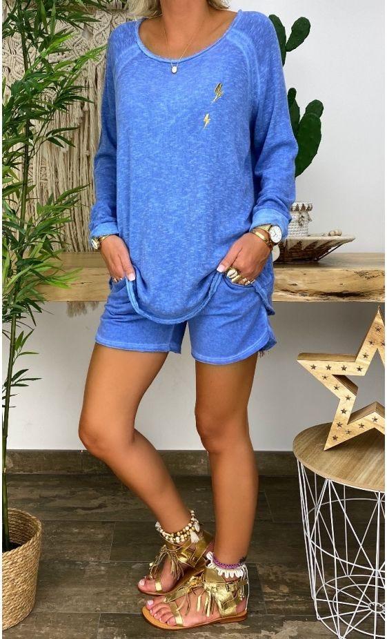 Short Ely Sweat Fin Bleu Jean