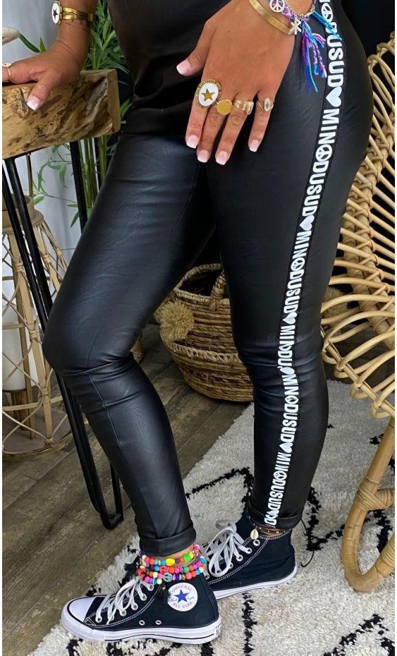 Legging Gaspard Simili Cuir Noir Bande MinoDuSud