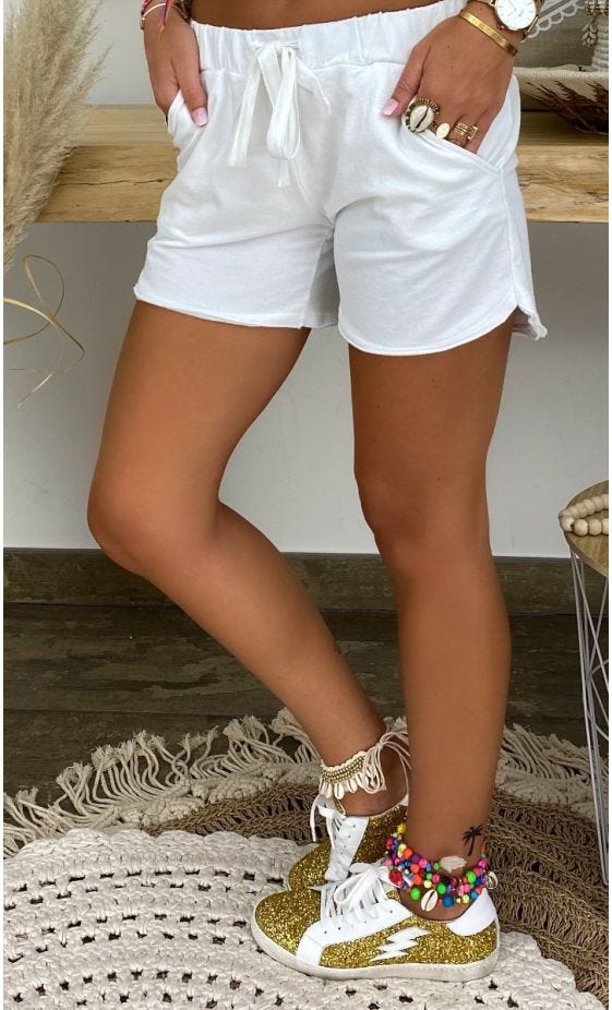 Short Ely Sweat Fin Blanc