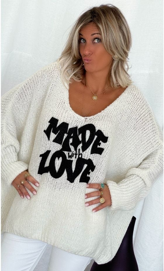 Pull Zack Oversize Blanc Cassé Made With Love
