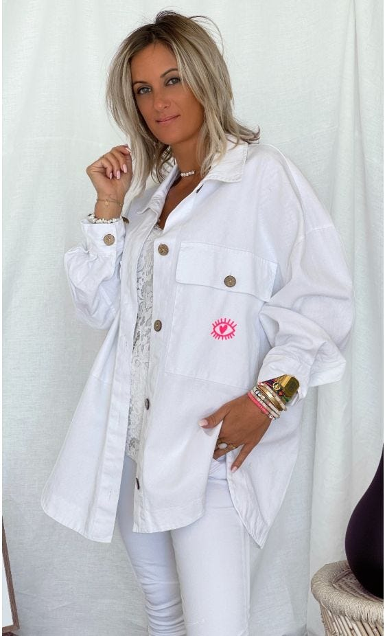 Surchemise Elvie Oversize Blanc 1629 MDS Rose Fluo