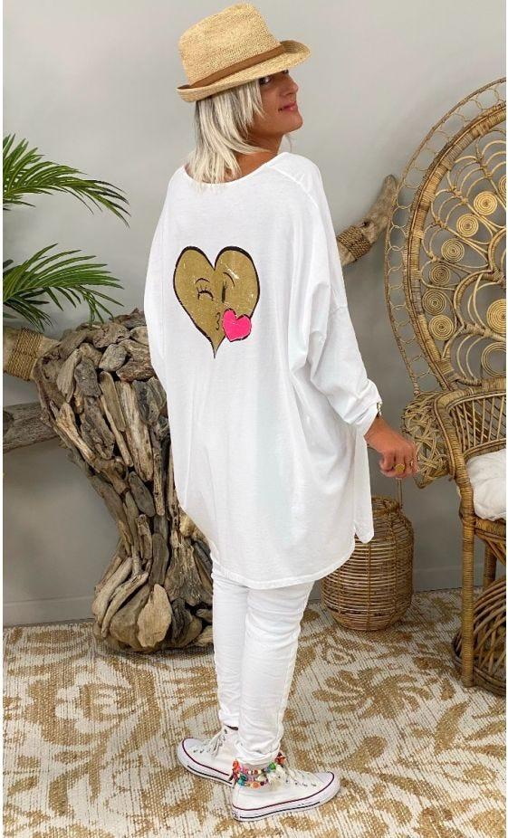 T-Shirt Gabin ML Oversize Blanc Heart Kiss Or
