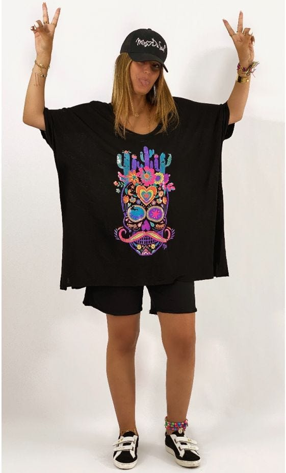 T-Shirt Gabin MC Oversize Lin Noir Cactus Skull